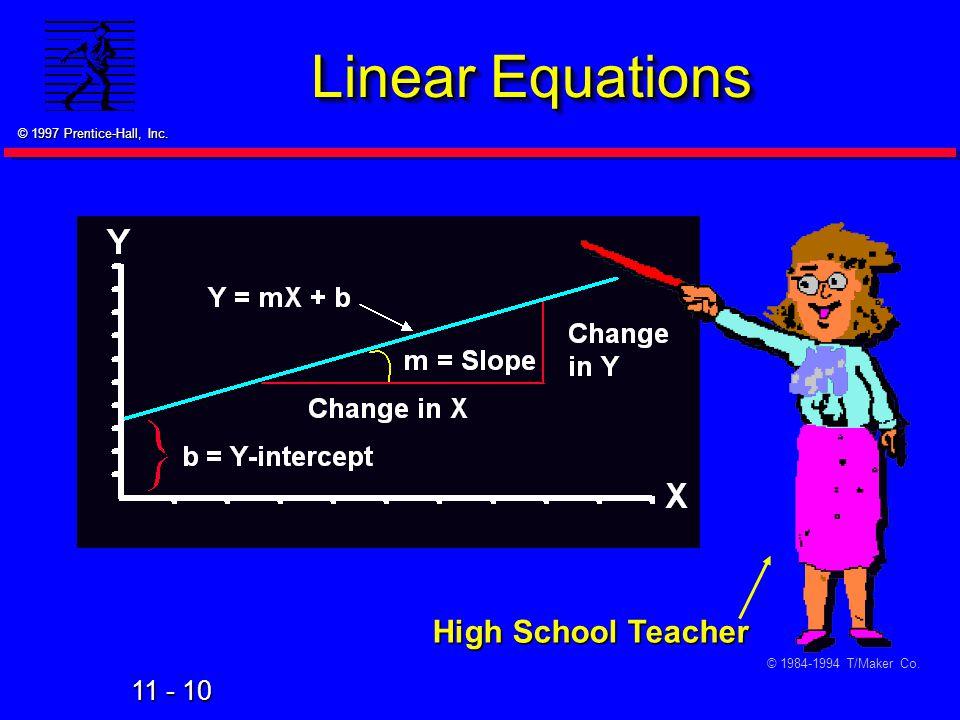 Linear Equations High School Teacher © 1984-1994 T/Maker Co. 28
