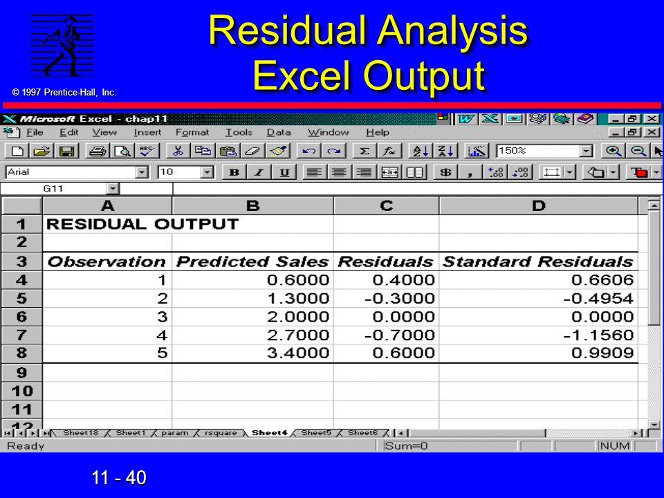 Residual Analysis Excel Output