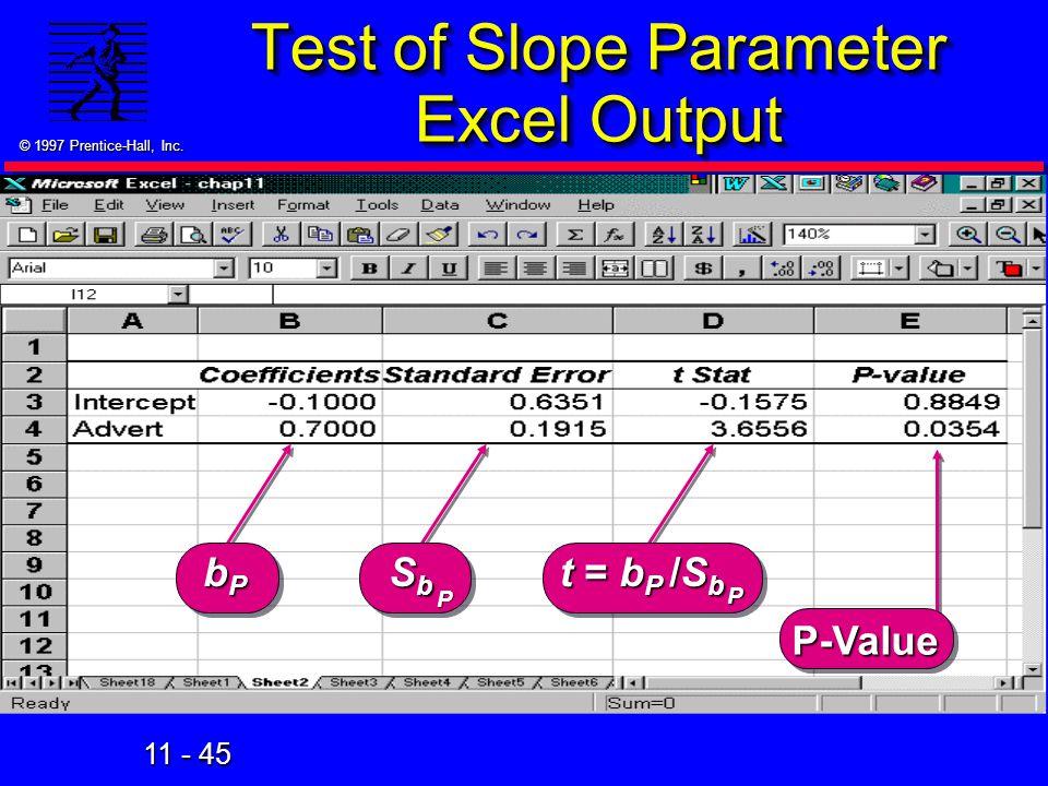 Test of Slope Parameter Excel Output