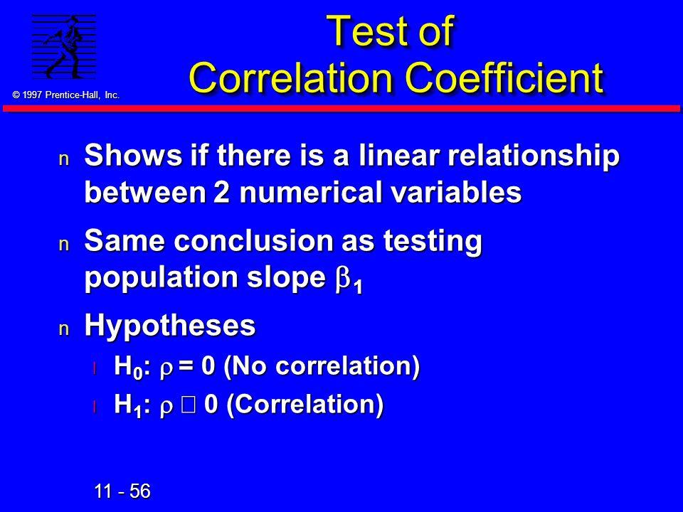 Test of Correlation Coefficient