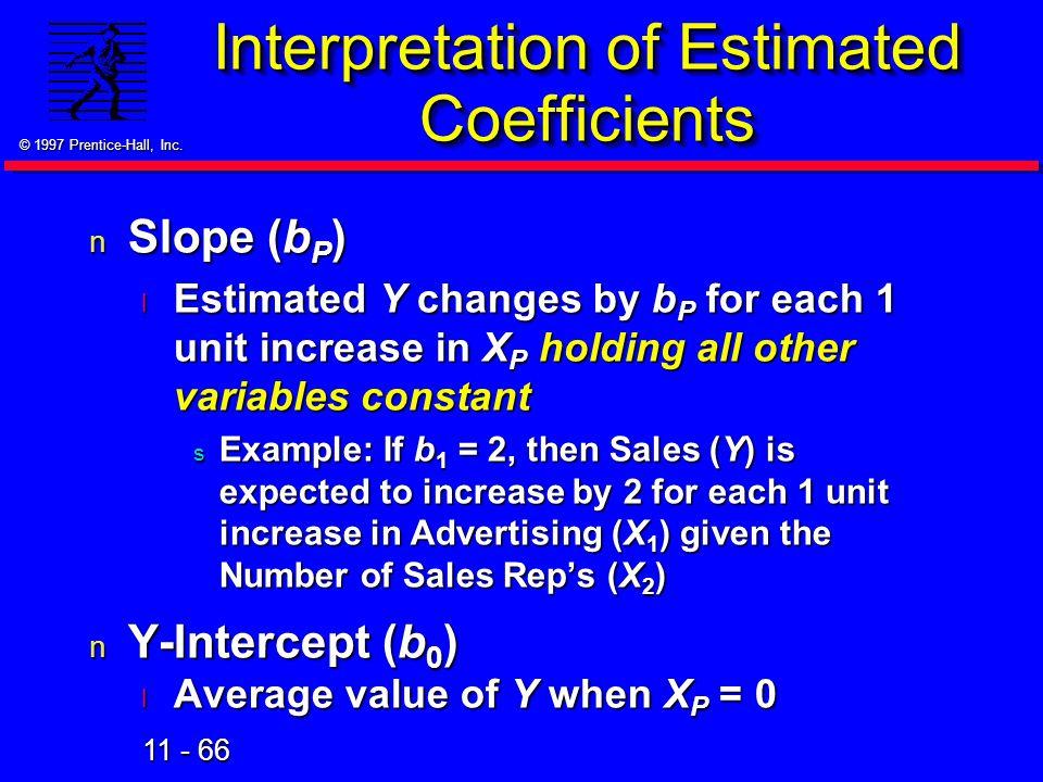Interpretation of Estimated Coefficients