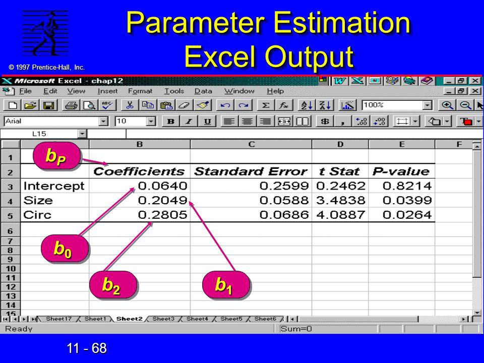 Parameter Estimation Excel Output