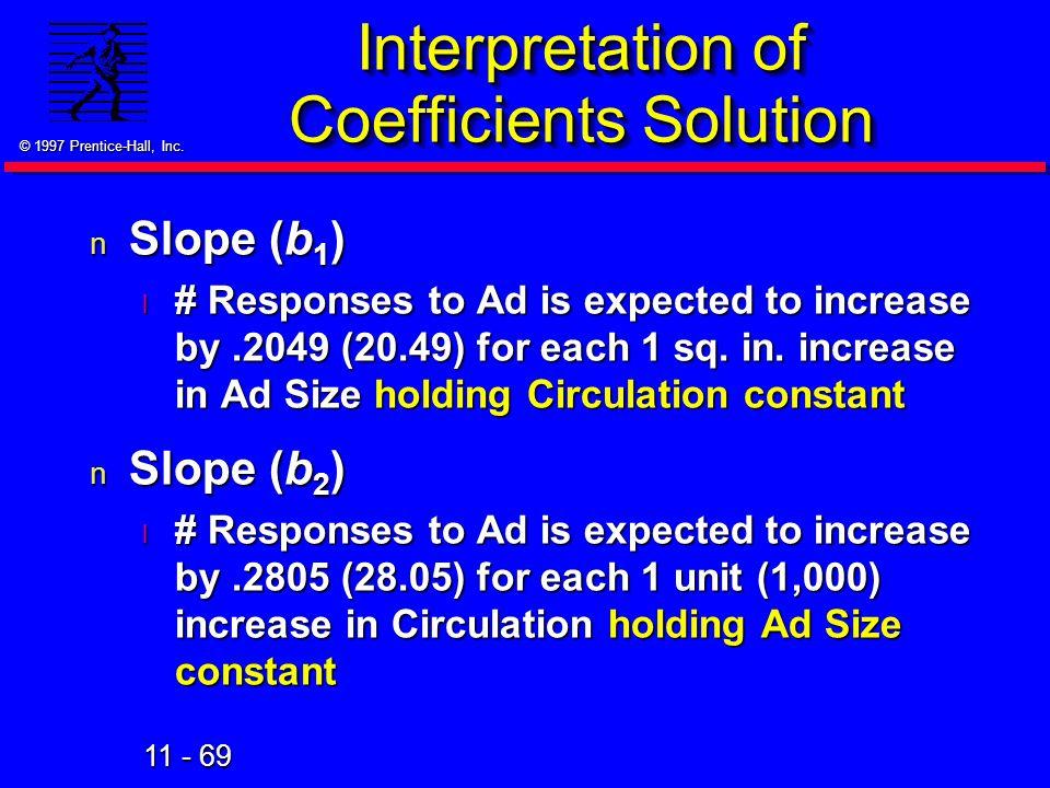 Interpretation of Coefficients Solution