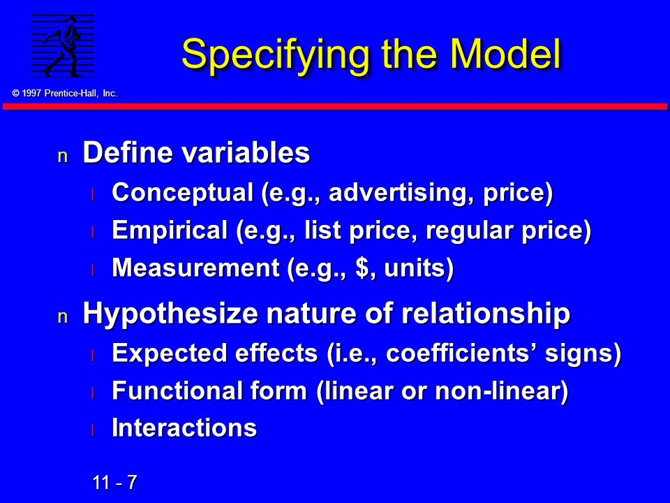 Specifying the Model Define variables