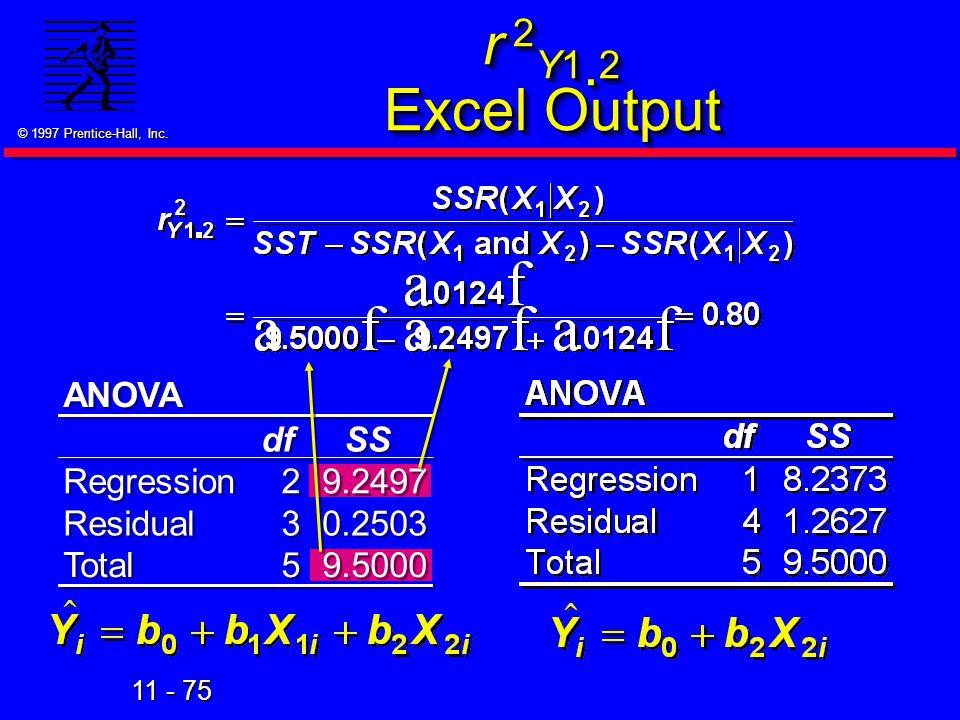 r 2Y1.2 Excel Output ANOVA df SS Regression 2 9.2497 Residual 3 0.2503