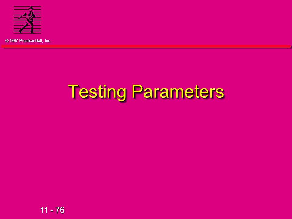 Testing Parameters 33