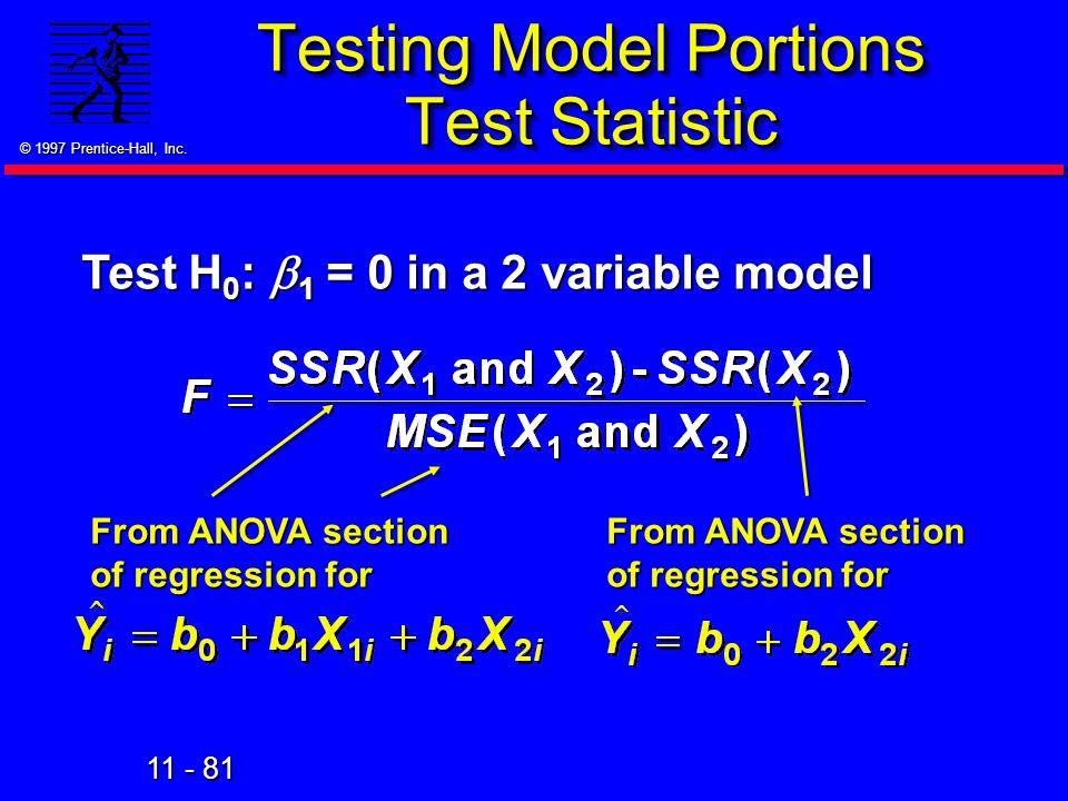 Testing Model Portions Test Statistic