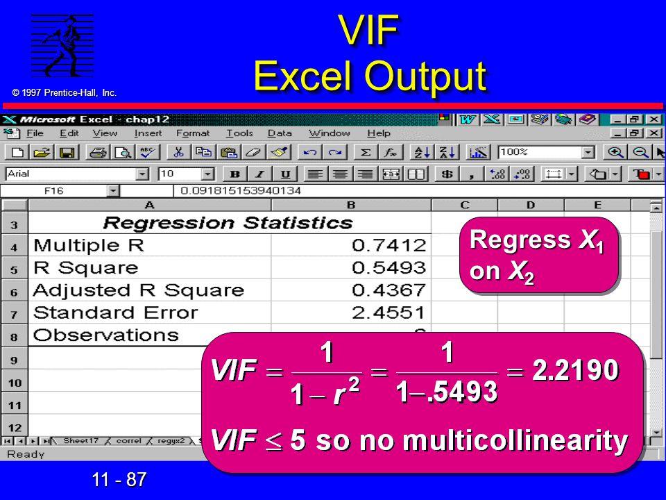 VIF Excel Output Regress X1 on X2 44