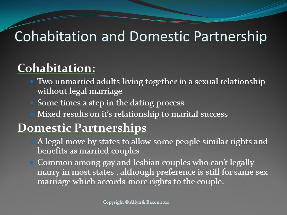 Cohabitation and Domestic Partnership
