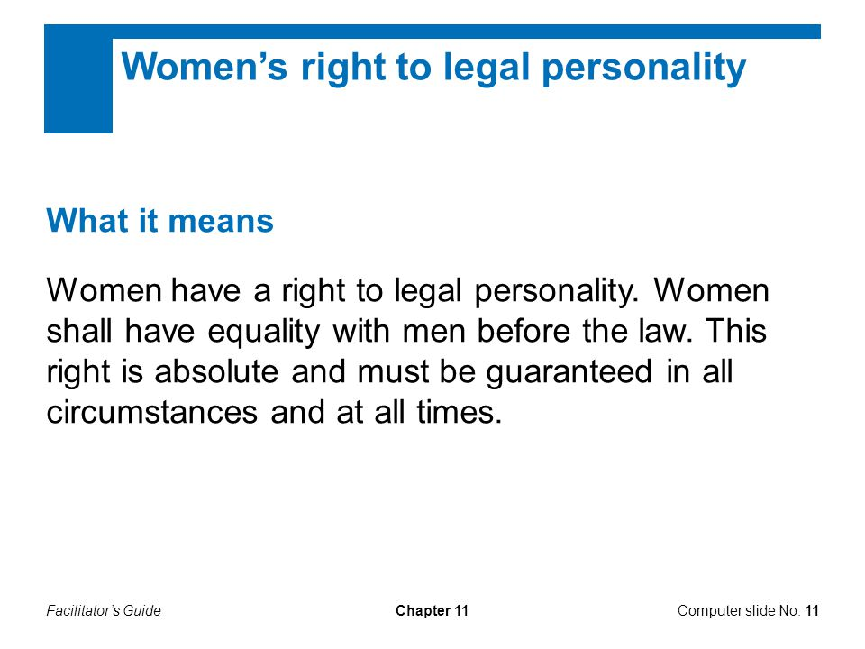 Women's right to legal personality