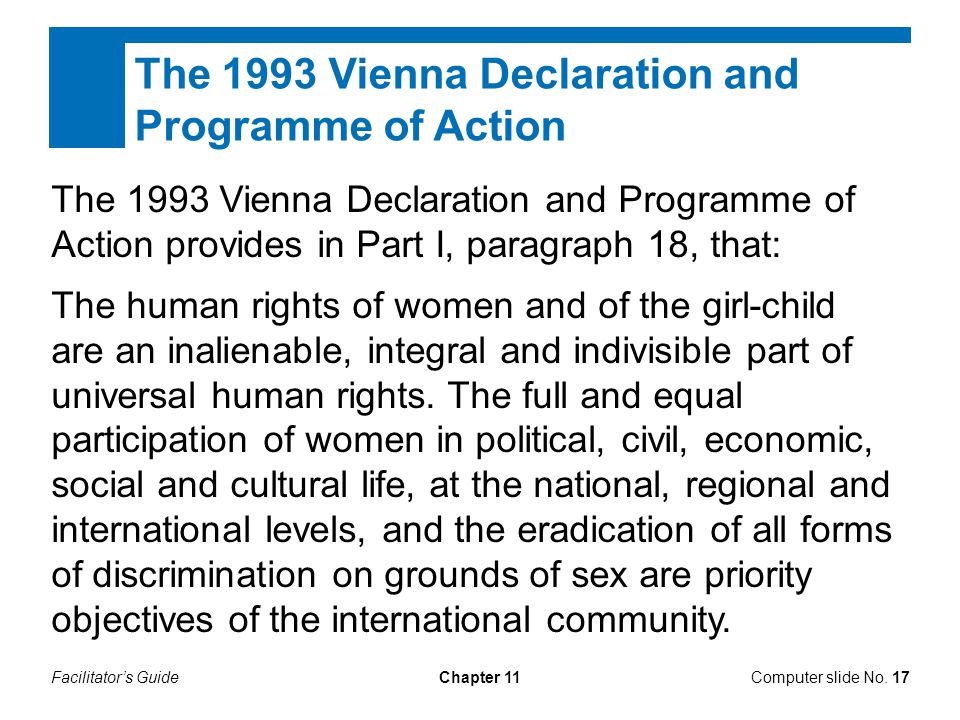 The 1993 Vienna Declaration and Programme of Action