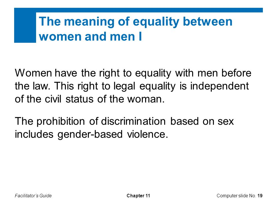 The meaning of equality between women and men I