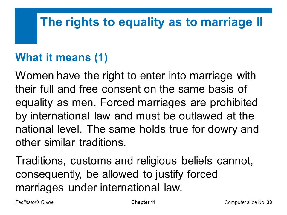 The rights to equality as to marriage II