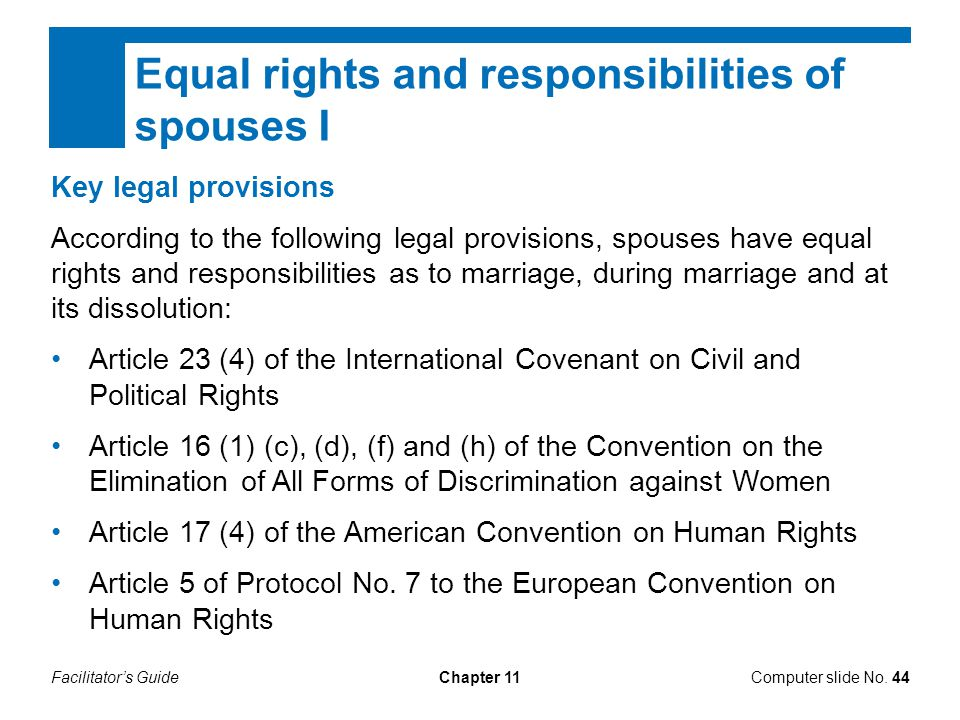 Equal rights and responsibilities of spouses I