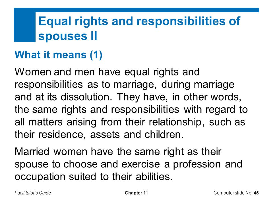 Equal rights and responsibilities of spouses II