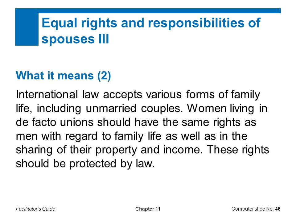 Equal rights and responsibilities of spouses III