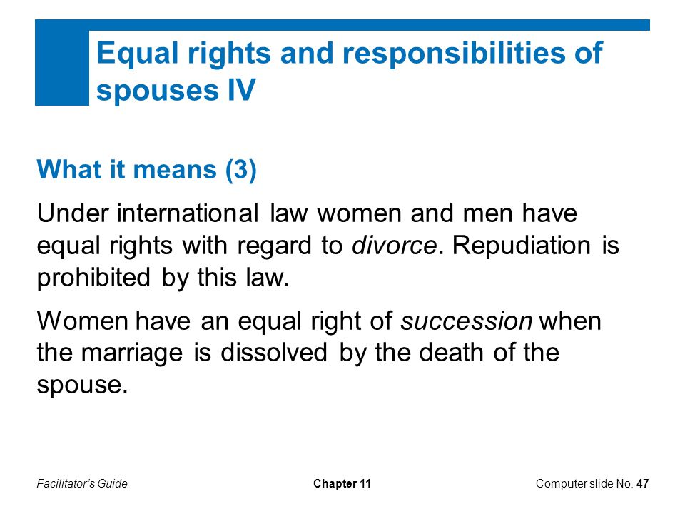 Equal rights and responsibilities of spouses IV