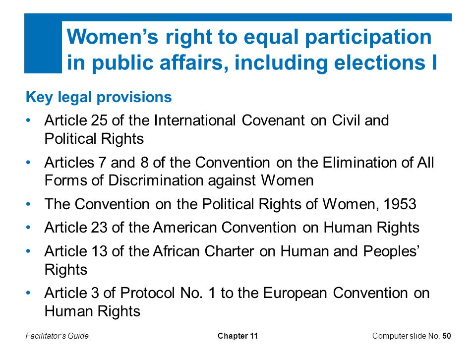 Women's right to equal participation in public affairs, including elections I