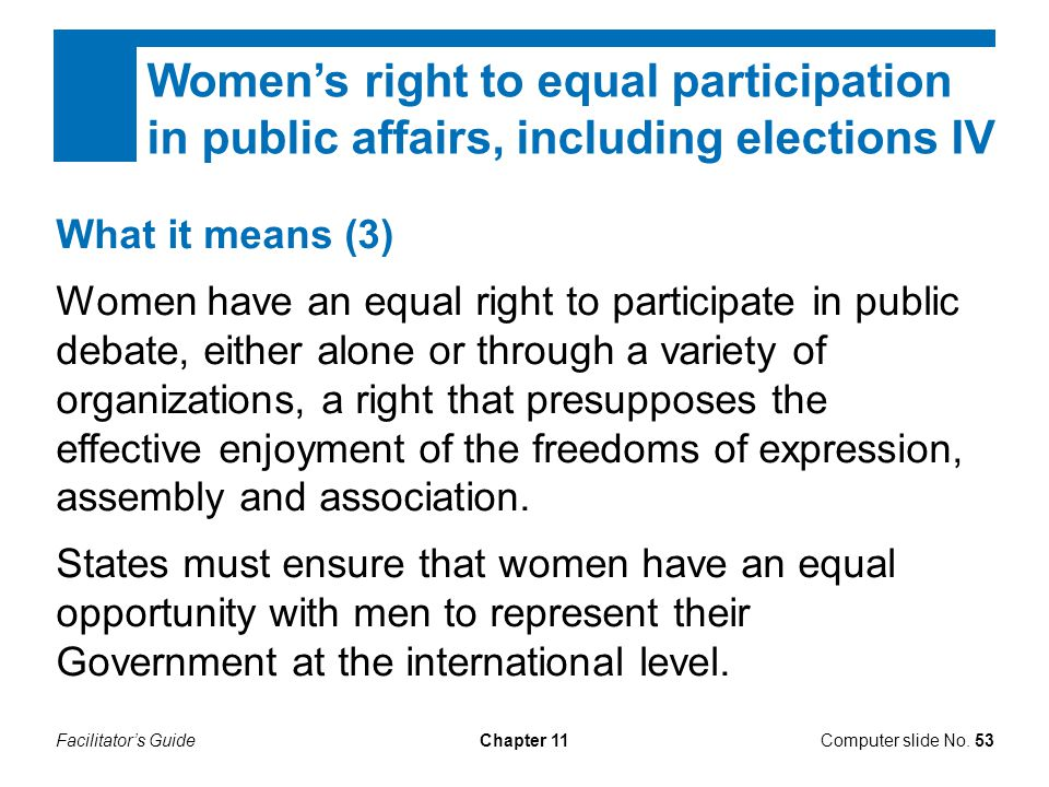 Women's right to equal participation in public affairs, including elections IV