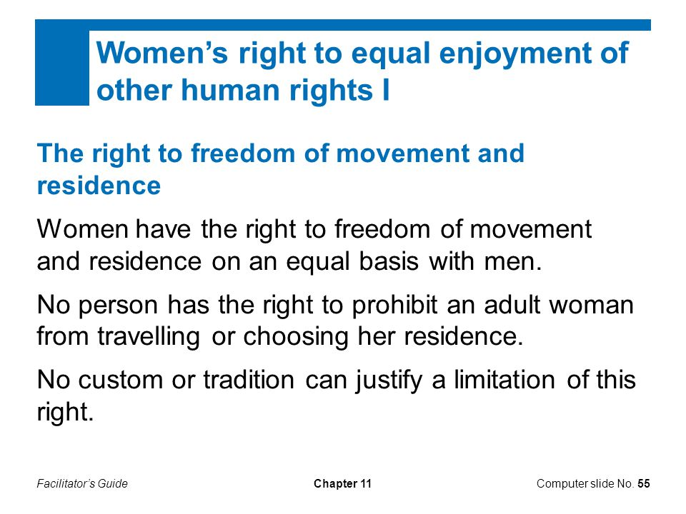 Women's right to equal enjoyment of other human rights I