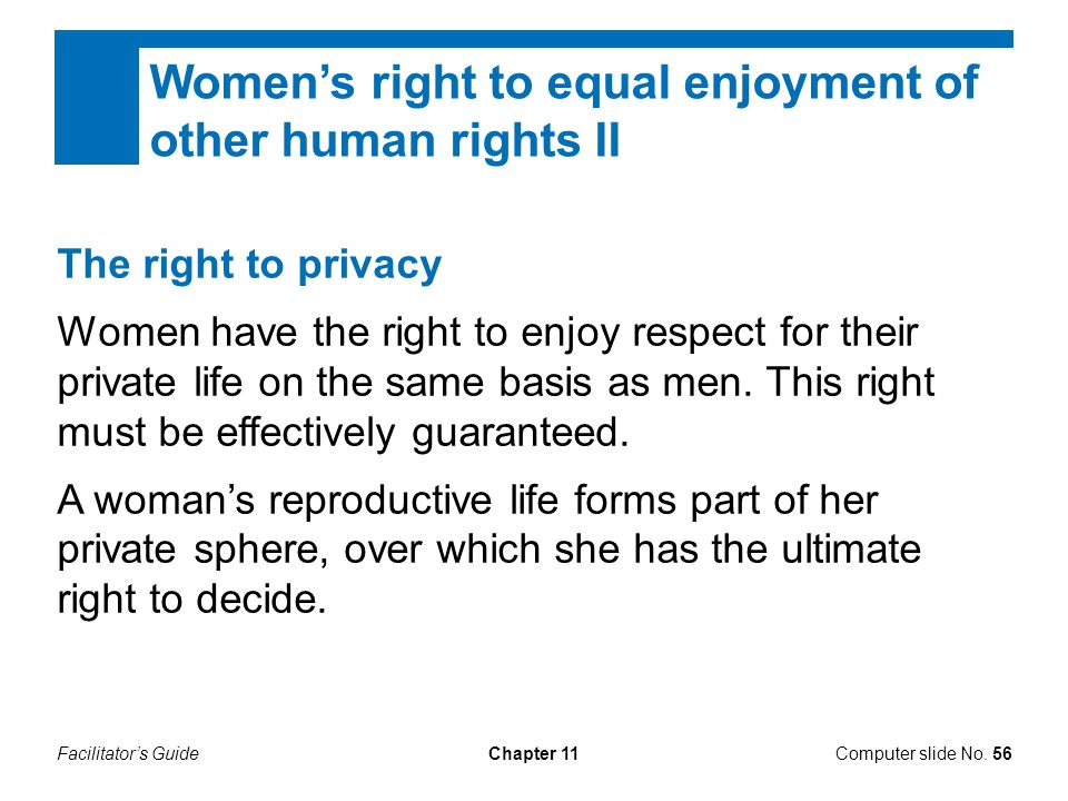 Women's right to equal enjoyment of other human rights II