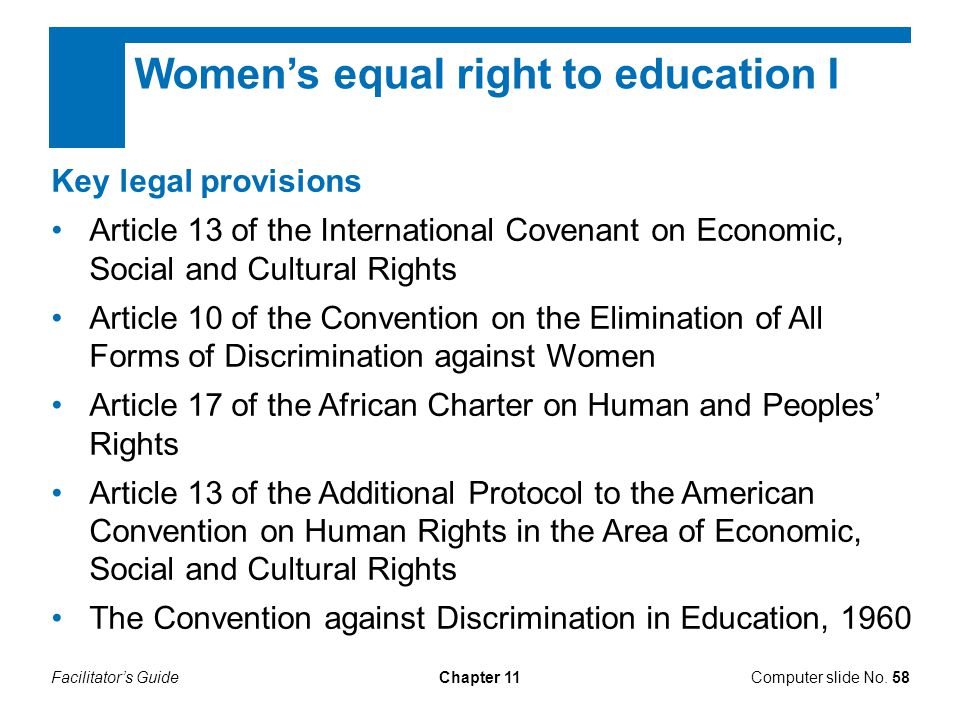 Women's equal right to education I