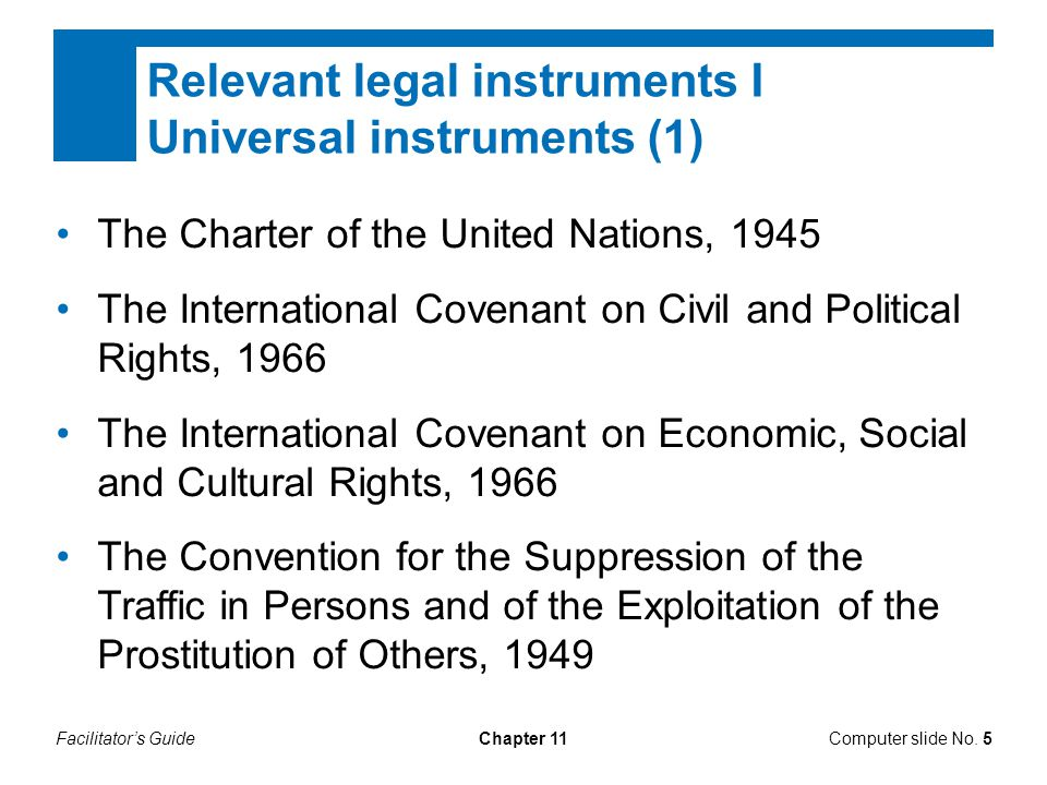 Relevant legal instruments I Universal instruments (1)