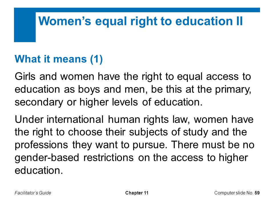 Women's equal right to education II