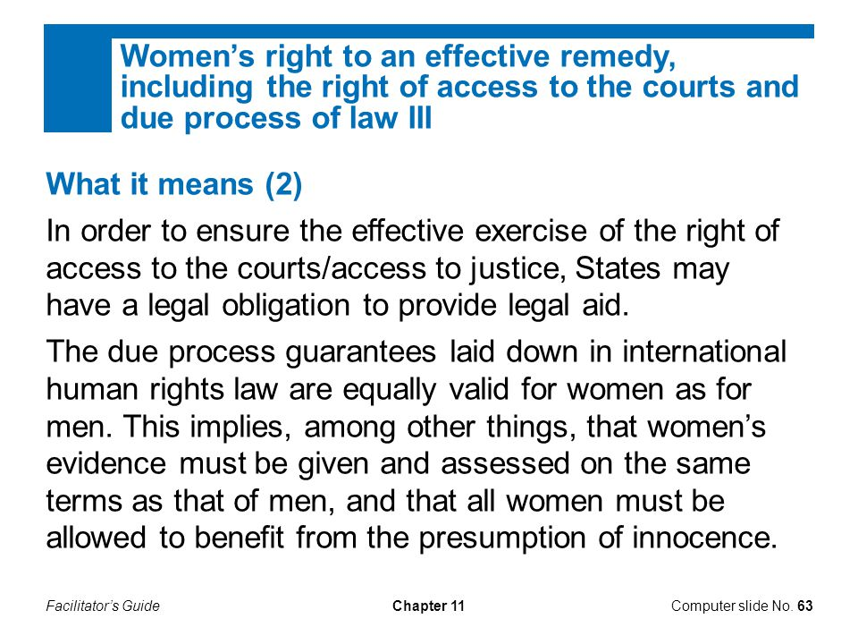 Women's right to an effective remedy, including the right of access to the courts and due process of law III