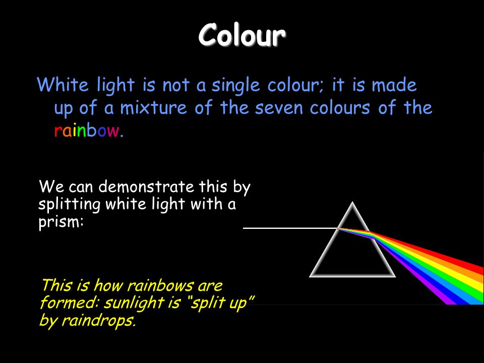 ColourWhite light is not a single colour; it is made up of a mixture of the seven colours of the rainbow.