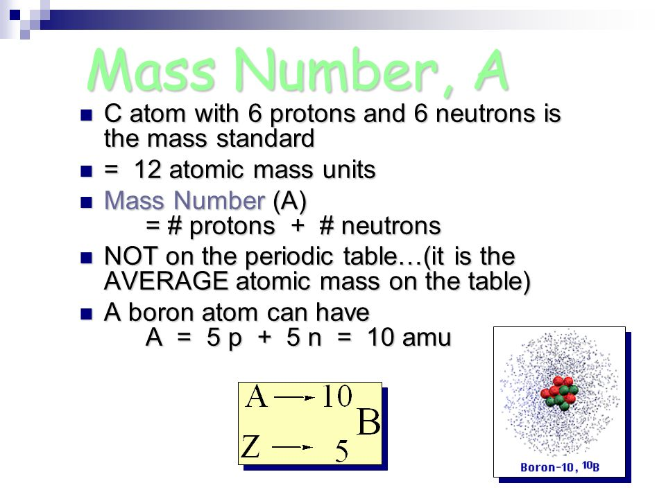 Mass Number, A C atom with 6 protons and 6 neutrons is the mass standard. = 12 atomic mass units.