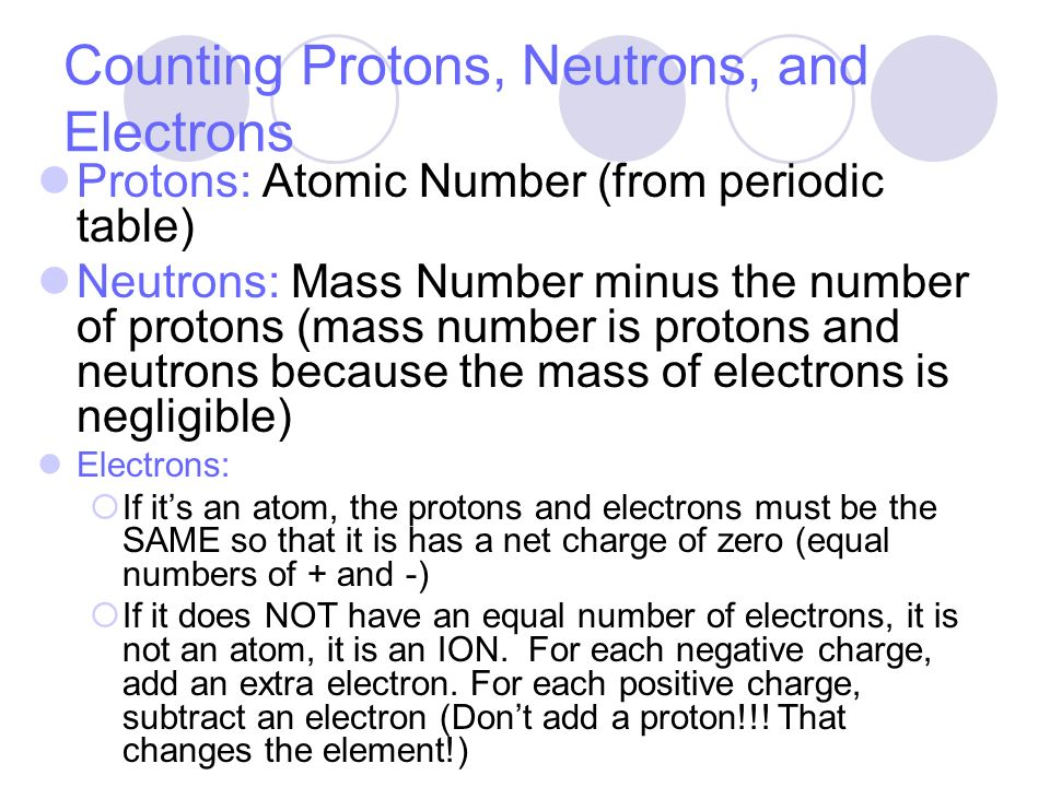 how to find protons neutrons and electrons with a charge