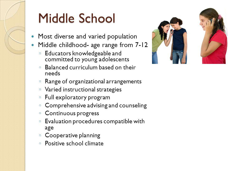 Middle School Most diverse and varied population