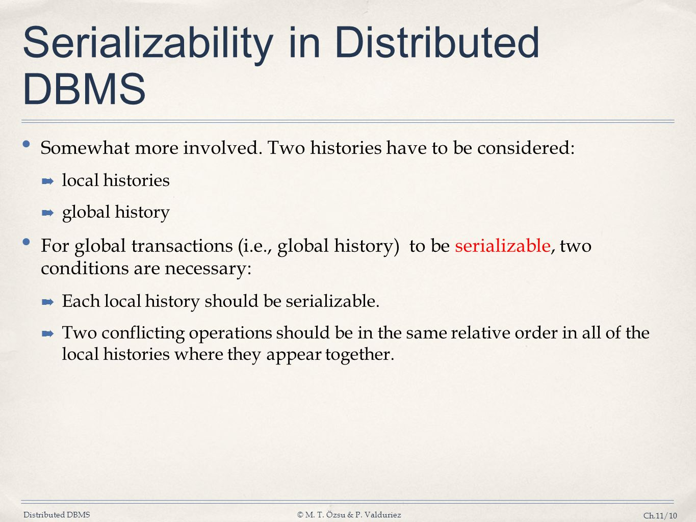 Serializability in Distributed DBMS