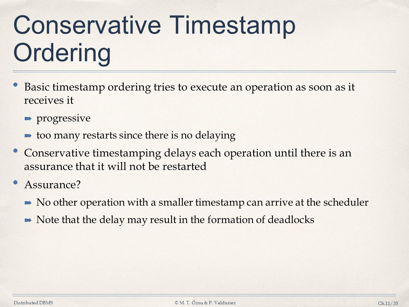 Conservative Timestamp Ordering