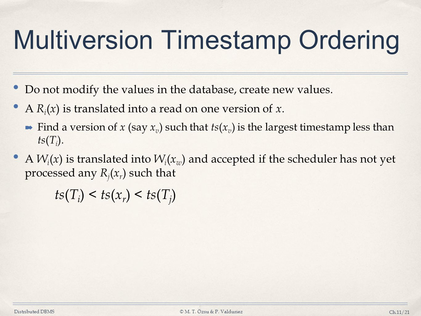 Multiversion Timestamp Ordering