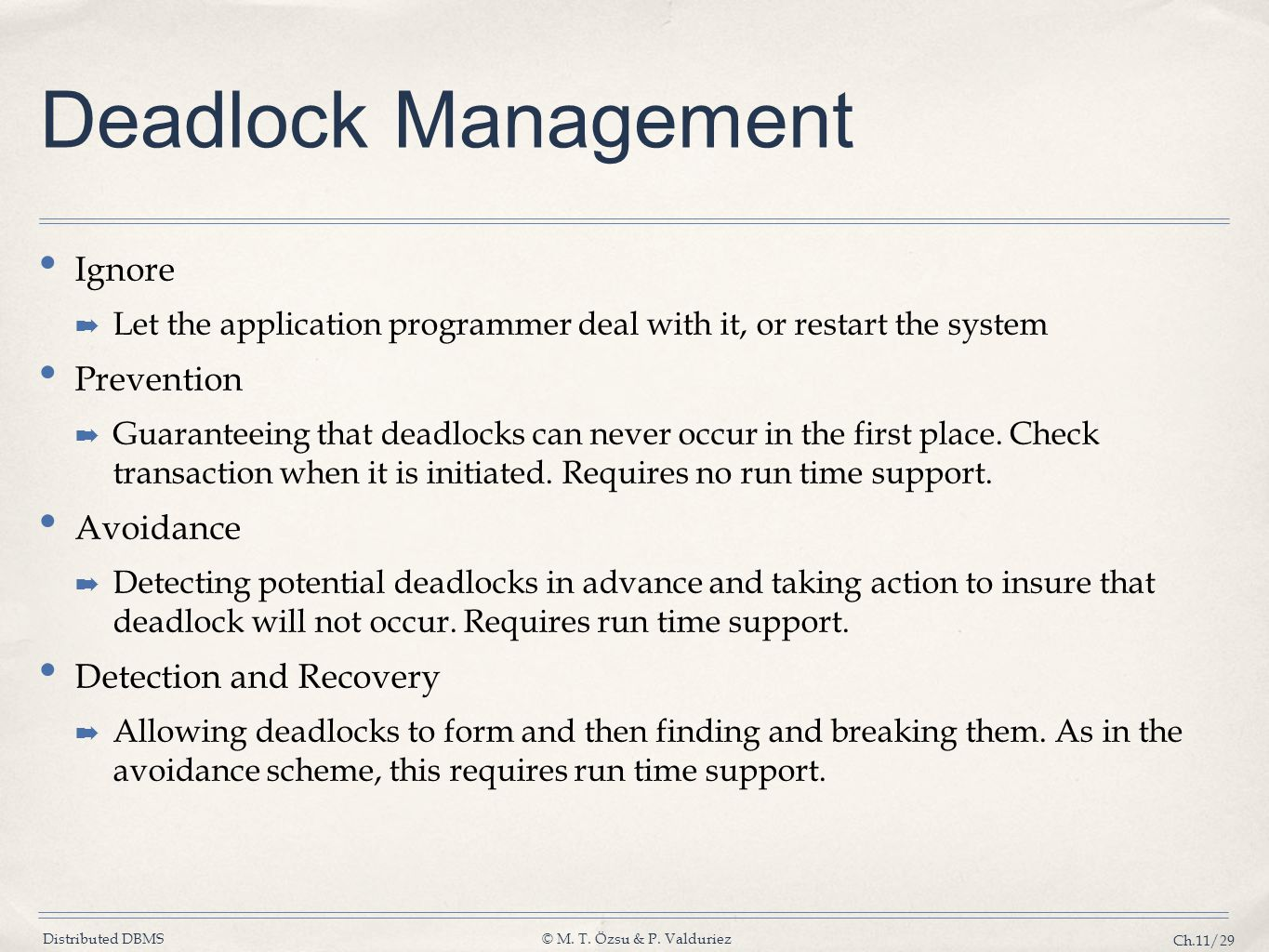 Deadlock Management Ignore Prevention Avoidance Detection and Recovery