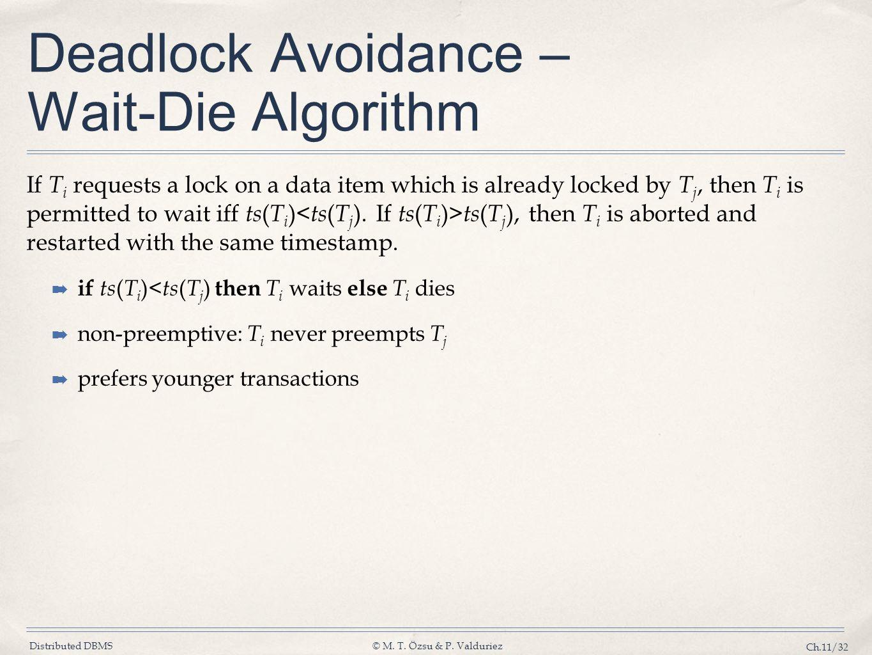 Deadlock Avoidance – Wait-Die Algorithm
