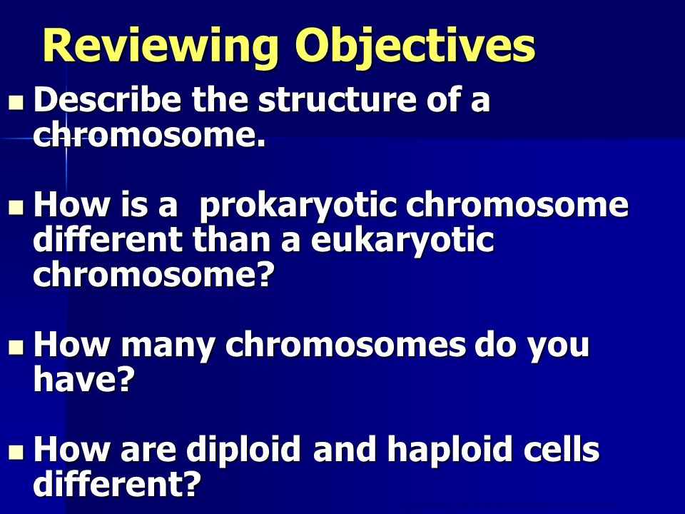 Reviewing Objectives Describe the structure of a chromosome.