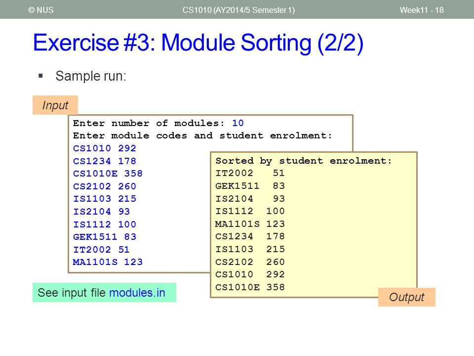 Exercise #3: Module Sorting (2/2)