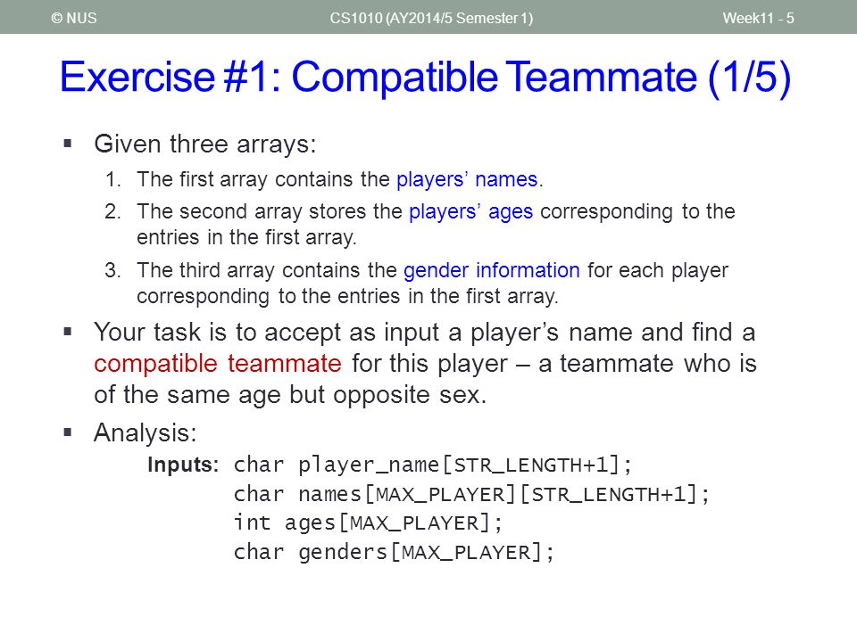 Exercise #1: Compatible Teammate (1/5)