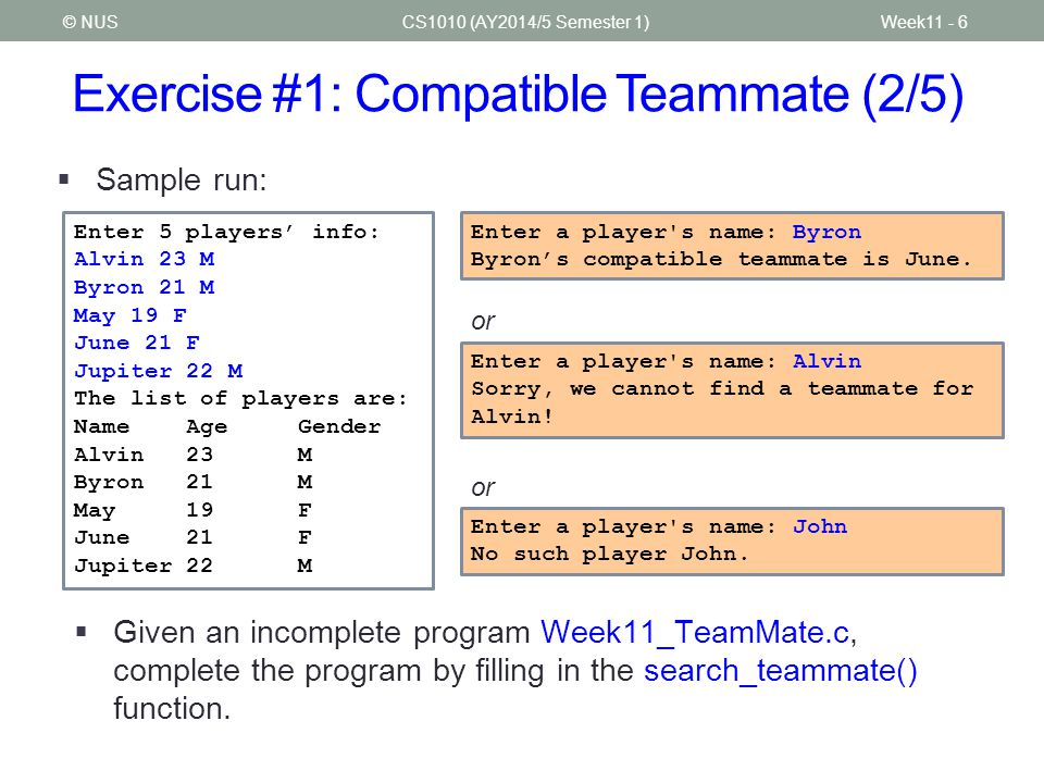 Exercise #1: Compatible Teammate (2/5)
