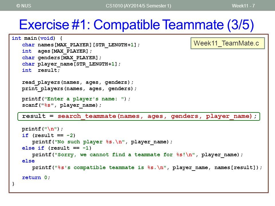 Exercise #1: Compatible Teammate (3/5)