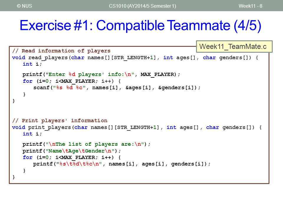 Exercise #1: Compatible Teammate (4/5)