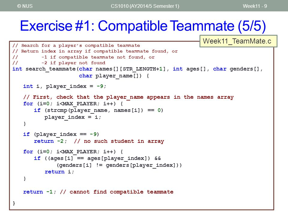 Exercise #1: Compatible Teammate (5/5)