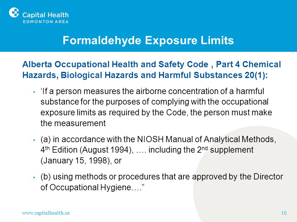 Formaldehyde Exposure Limits