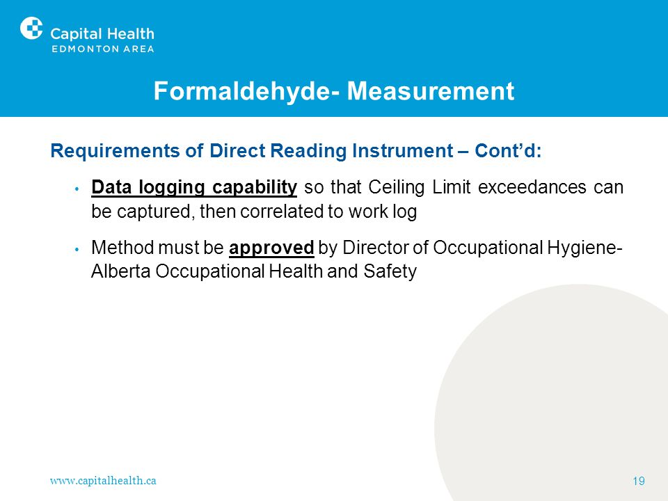 Formaldehyde- Measurement