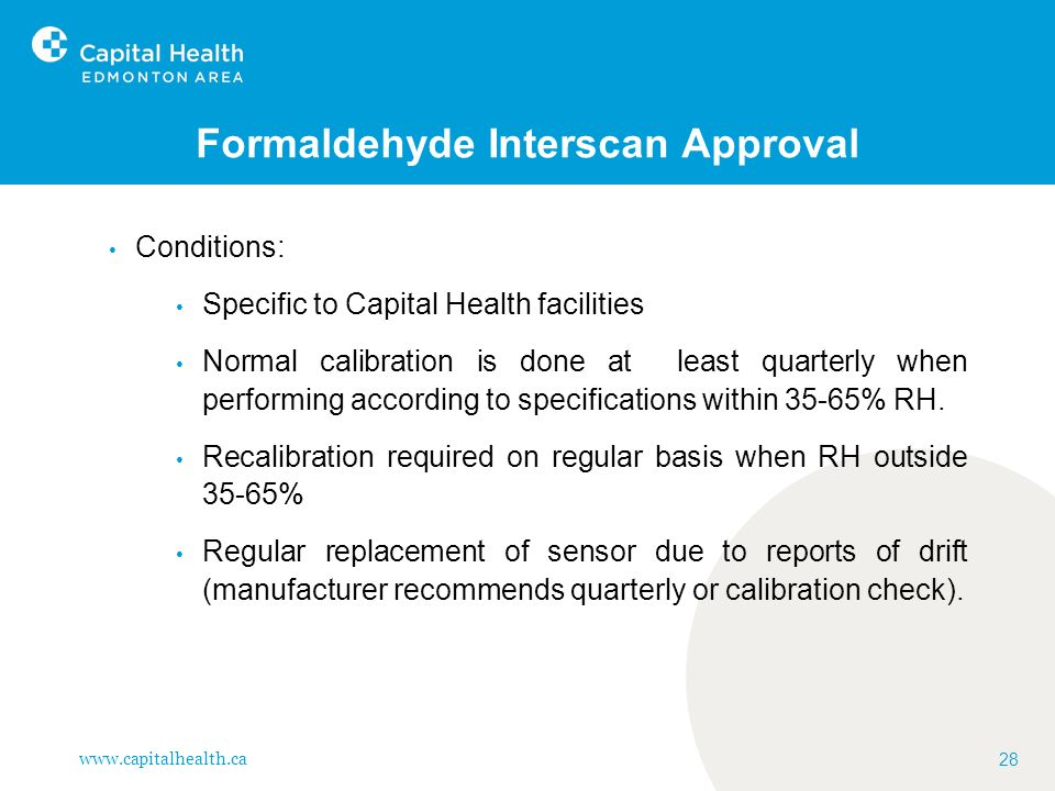Formaldehyde Interscan Approval