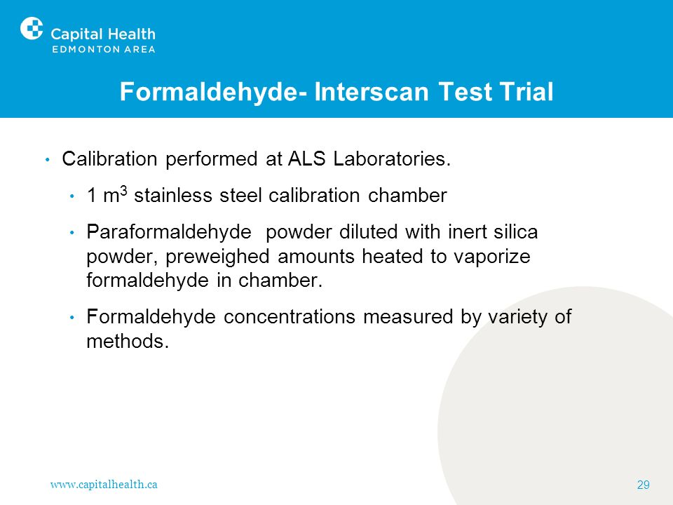 Formaldehyde- Interscan Test Trial