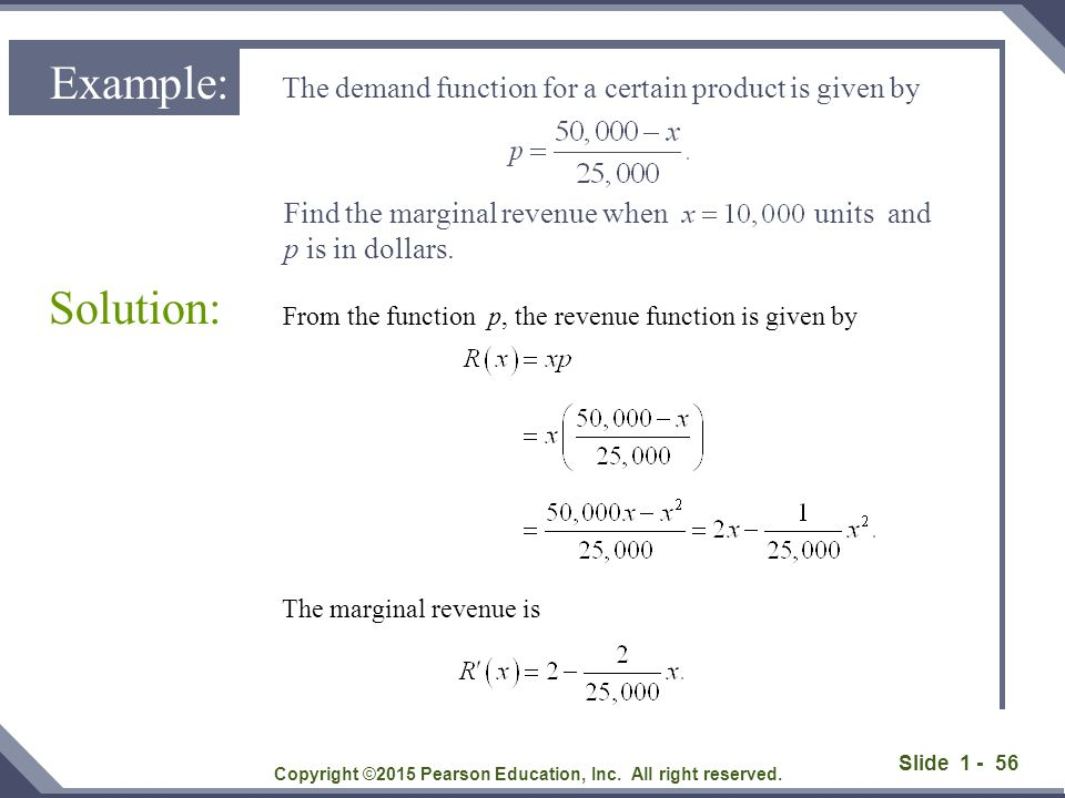 From the function p, the revenue function is given by